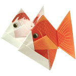 Origami - Pliage Poisson Rouge en Papier